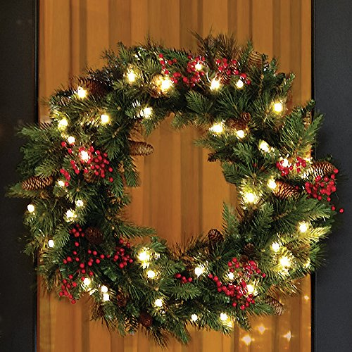 cordless led pre lit cone berry christmas wreath. Black Bedroom Furniture Sets. Home Design Ideas